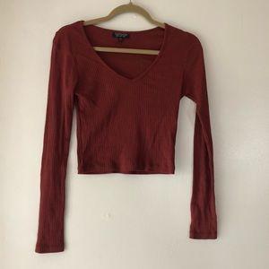 Red long sleeve topshop crop top